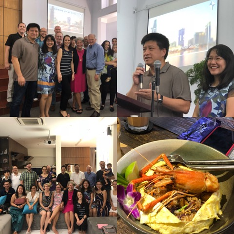The first photo is of the team who made the Sunday morning service happen; next is Sonny and Christy introducing us; the next is the small group that met at the Vu's house late afternoon, and the final photo . . . a sampling of the Thai lunch we had. Yum!!
