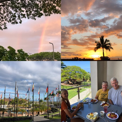 """The sunset and rainbow that welcomed us as we landed in the top frames, the """"circle of flags"""" on the University of the Nations campus, representing every country represented on the campus at any given time, and finally, the McCoys, having brunch with us."""