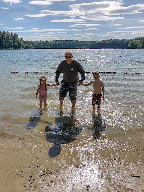 This Papa never disappoints . . . while Julie and I hiked around Walden Pond, he went IN Walden Pond with the littles.