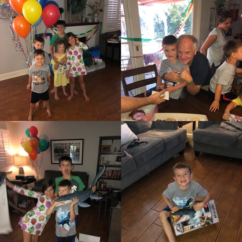 The cousins LOVED being together to celebrate Nathan, the dinosaur-lover.