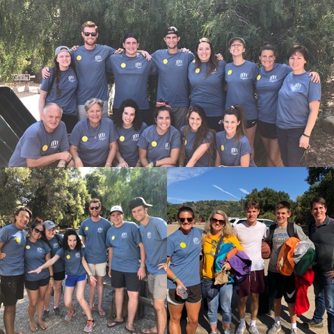 Most of the first week staff team is pictured in the top photo, and we greet family campers as they arrive in the bottom photos.