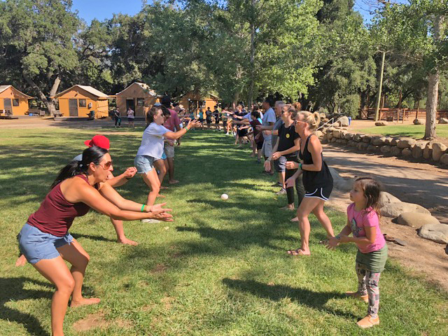 The egg toss was one of the popular family lawn games played. We love having the generations playing together!