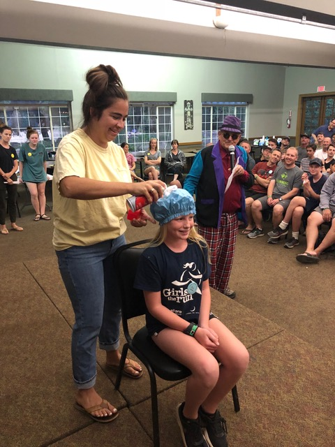 Shelby prepares Josie Landon to catch cheese puff balls with her shaving-creamed-shower-capped head. Josie rocked it.