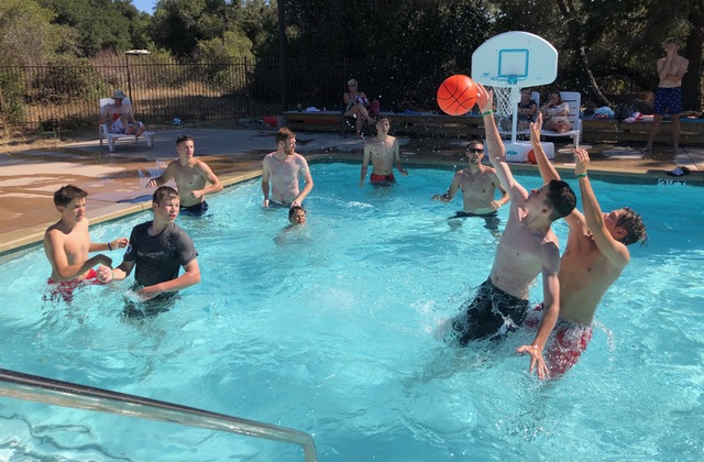 The pool basketball court was never empty. With volley ball at one end of the pool, and basketball at the other, and the rest of the pool open for whatever, the brilliant design of the pool facilitated everyone's desires.