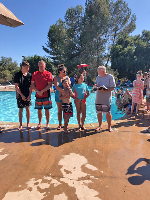 Danny, Gerrit, Natasha, and Kenny Chalay and Gracie Lingren were baptized on Friday of family camp. Annelieke opted to be baptized later, which has happened.
