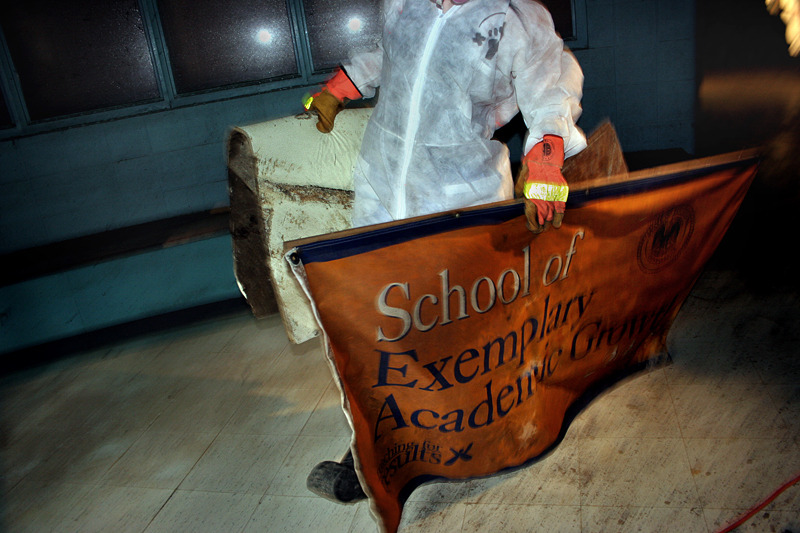 School Being Gutted, Hurricane Katrina, New Orleans, Louisiana  - for Duke University