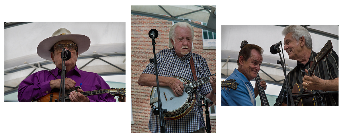 Bluegrass Legends Bobby Osborne (left), J.D. Crowe (middle), and Jerry and Del McCoury (right).