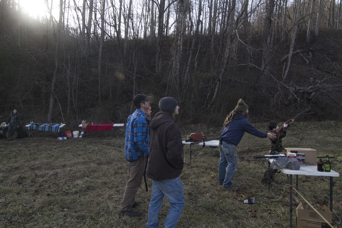 Gus shooting,Sprinkle Branch, Madison County, NC, New Years Day, 2014.