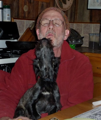 Me and Jasper howling at home, Paw Paw, Madison County, ca. 2010