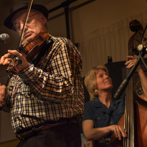 The incomparable, Roger Howell, with Cathy Arrowood, at the Fiddlers of                    Madison County concert last weekend at the Madison Arts Center in Marshall.