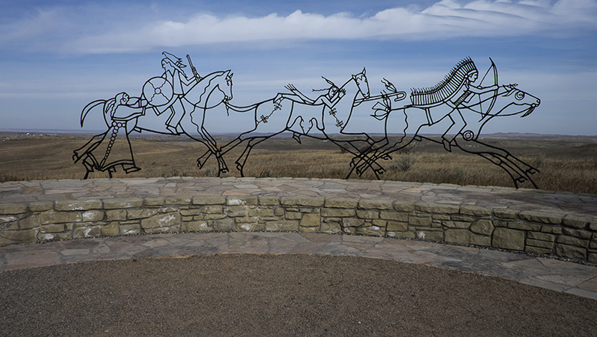 Indian Memorial themed   Peace Through Unity,   Little Bighorn Battlefield Memorial, Hardin, Montana