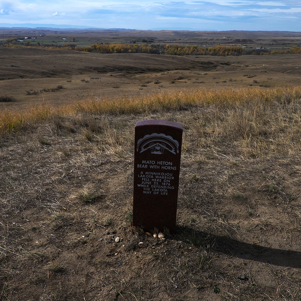 Memorial Marker for Lakota Warrior, Little Bighorn Battlefield Memorial, Hardin, Montana
