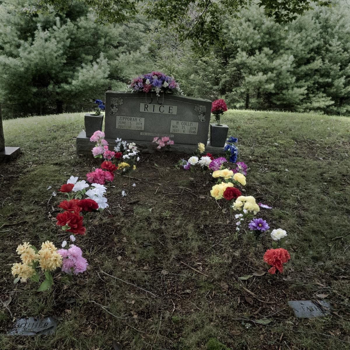 Zipporah Rice's grave, Rice Cove Cemetery,          Madison County, NC 2013.