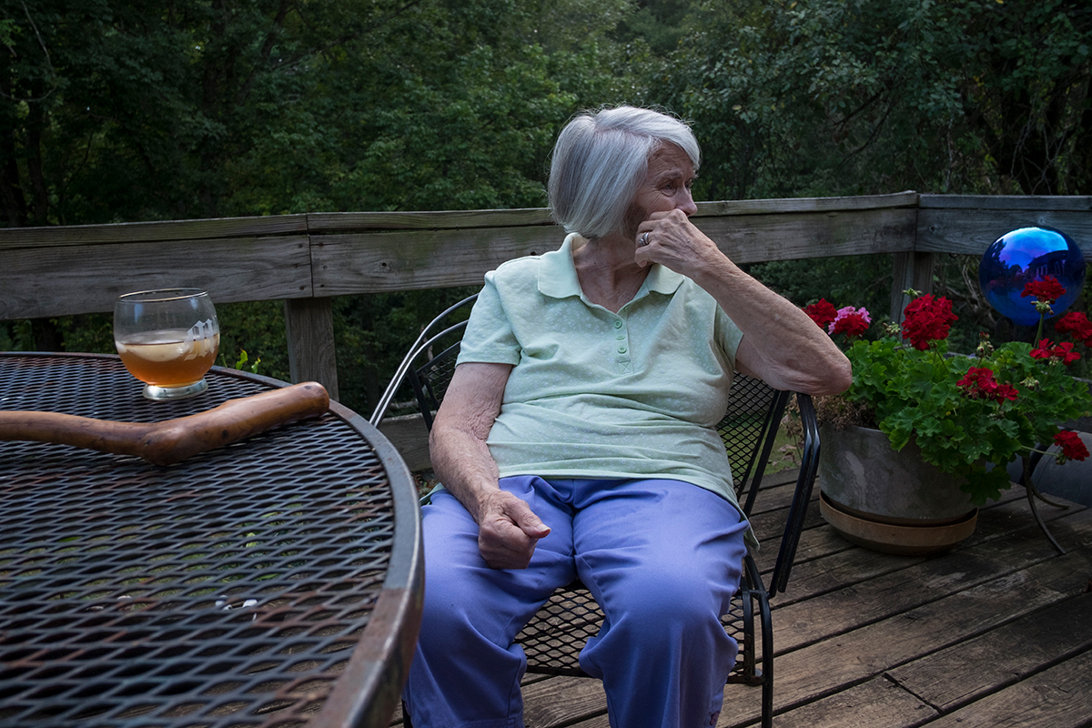 Fay Stilwell on our porch, PawPaw, Madison County, NC 9/9/16