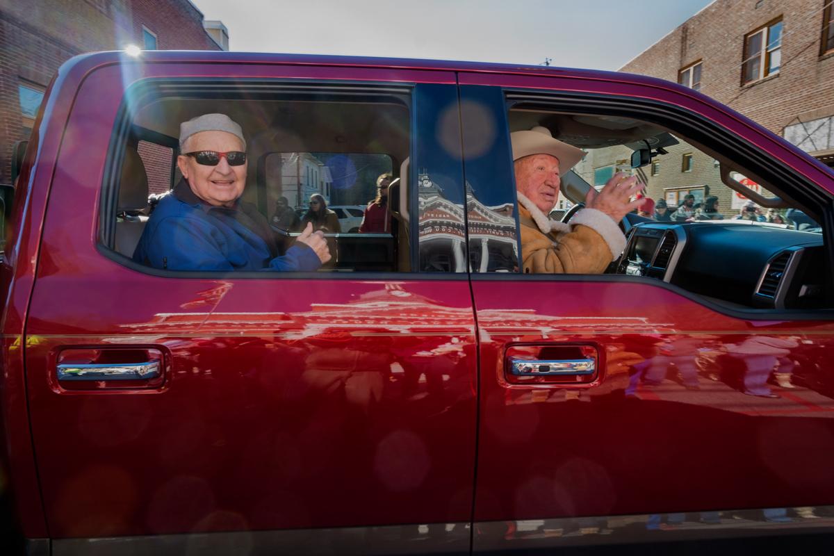 Emmitt Norton and Forrest Jarett at the Marshall Christmas Parade, Madison County, NC 2016.