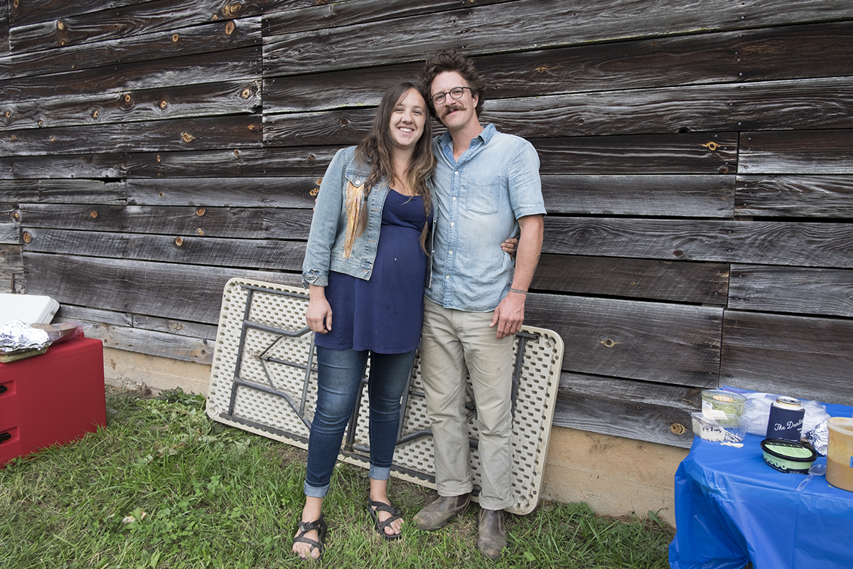 Mallory McCoy and Joe Evans at the party for their Baby Waylon, due soon, Thomas Branch, Madison County, NC 2017.
