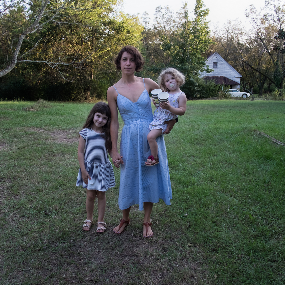 Megan Boling with her daughters, Emolyn (l) and Gillian, @ 3 cent farm with Fall Line Press, Sparta, GA 2017
