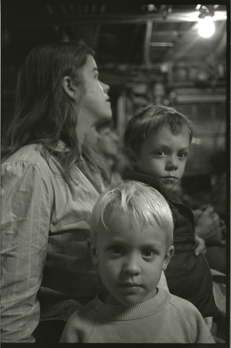 Candace, Luke and Tilson at Joe Fowler's Auction, Walnut, Madison County, NC 1988
