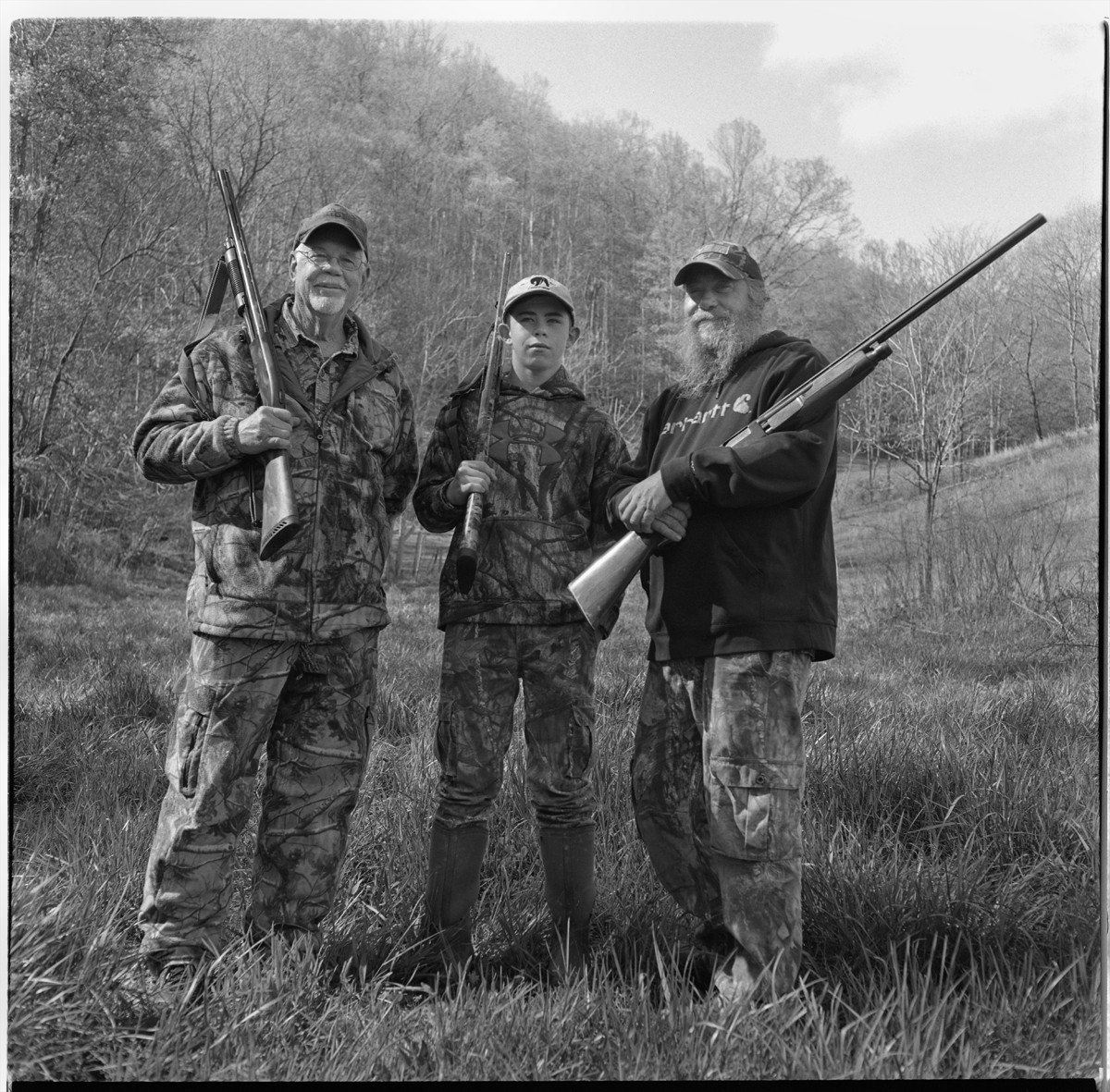Happy Birthday to Matt Hess (right), seen here with His Dad Lowell, and His Son Guss, during turkey season, 2019, Sprinkle Branch, Madison County, NC.