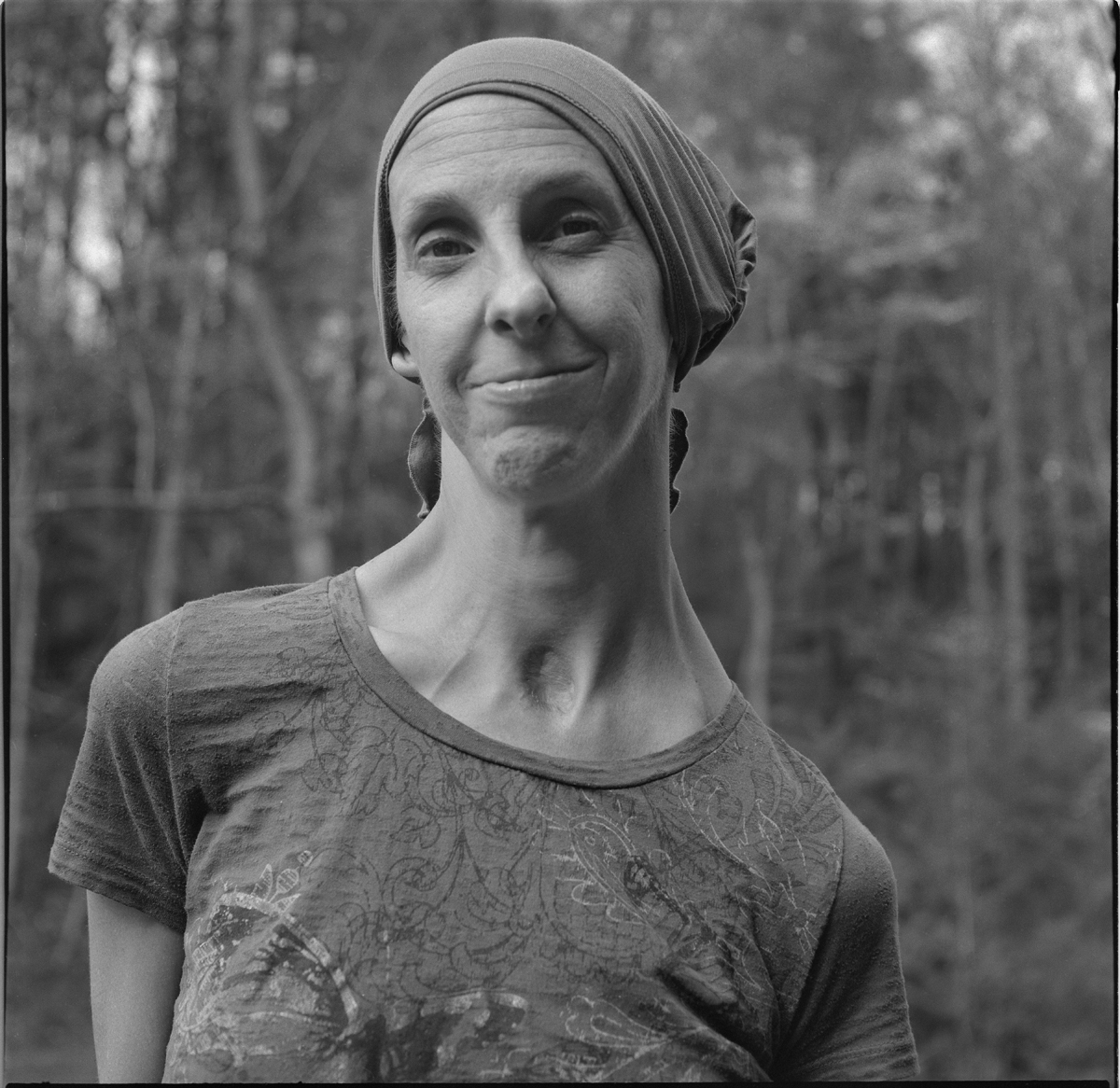 Jenna Nagle, after completing chemotherapy treatment for breast cancer, Guntertown, Madison County, 2019.