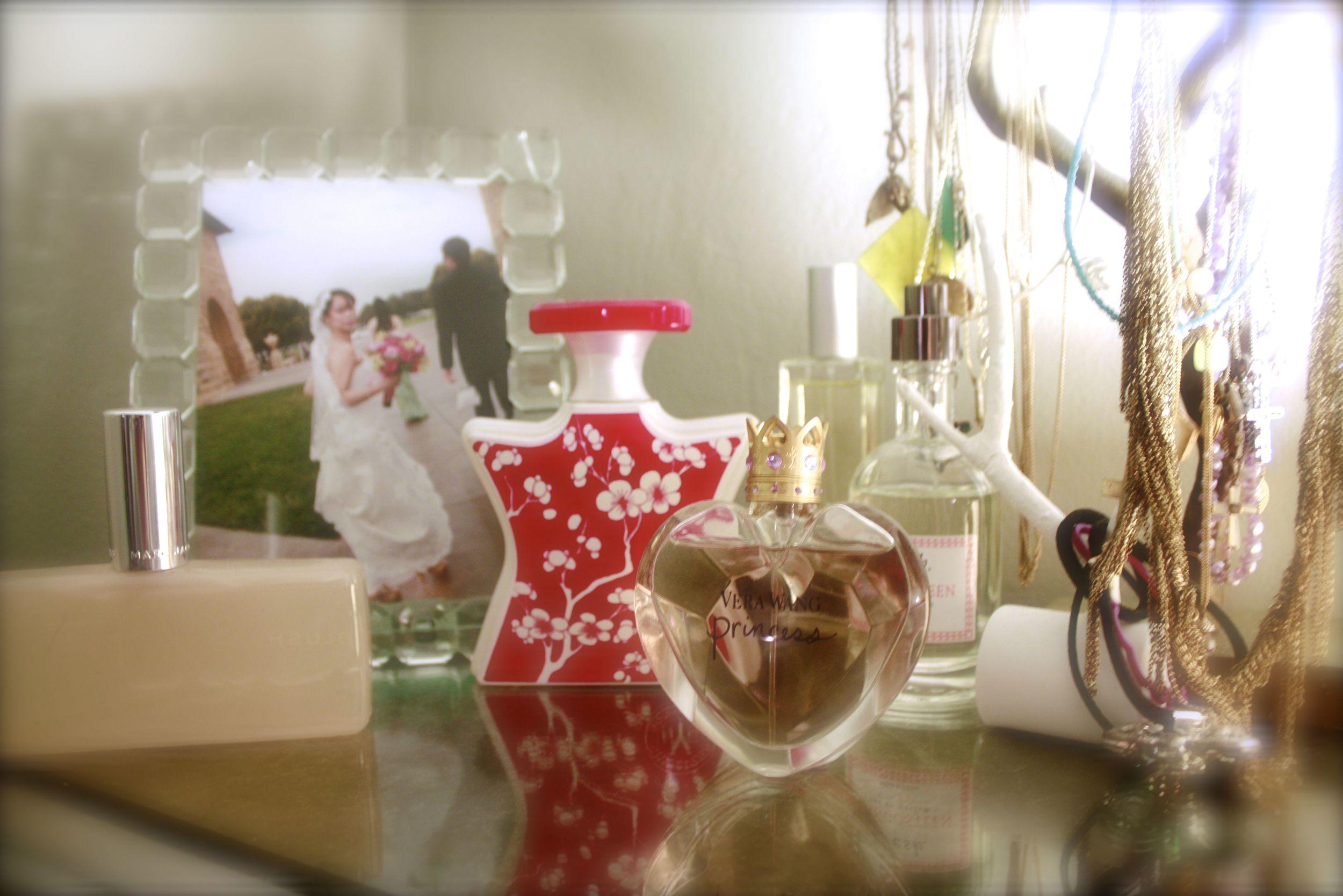 perfume bottles on a vanity