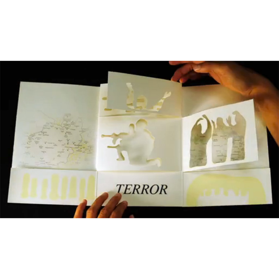 """War on Terror  2010 hand-cut inkjet-printed artist book edition of 5, each with unique cover 9"""" x 6"""" (closed dimensions) 