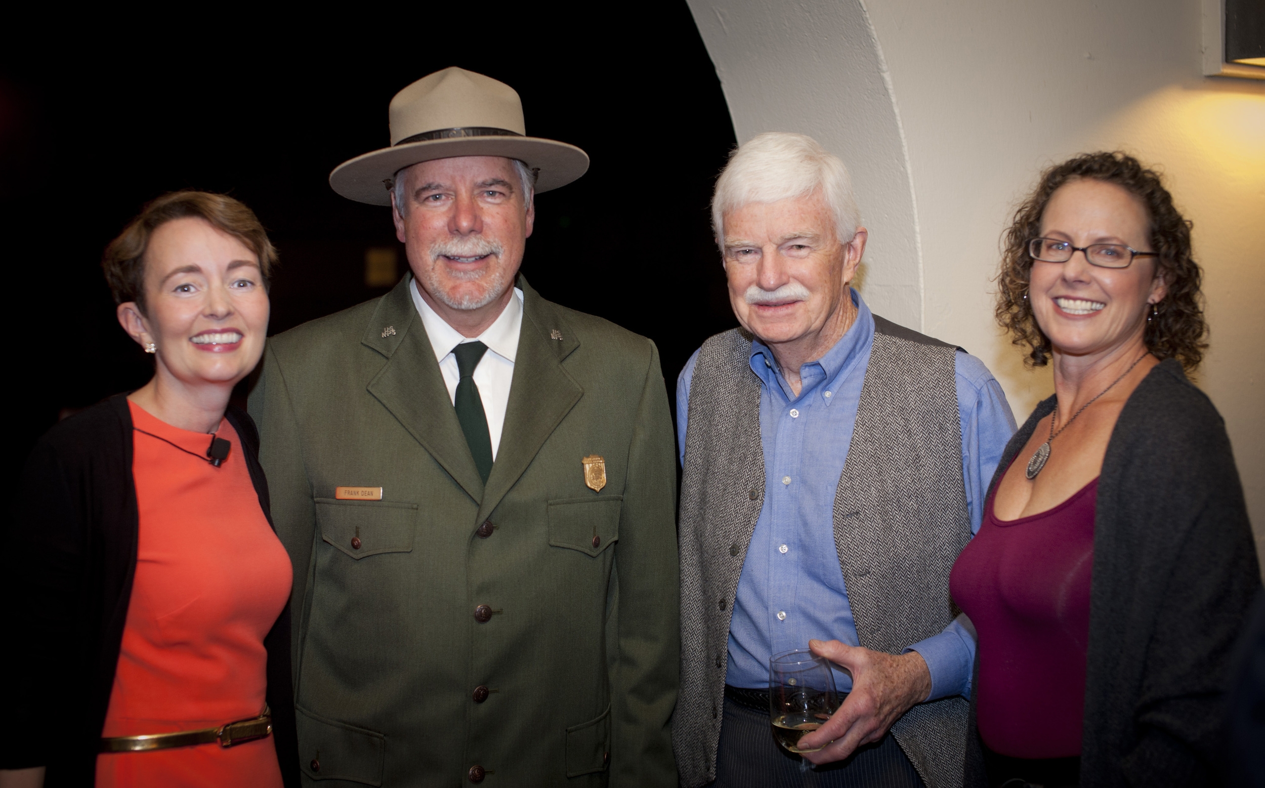 Pictured left to right: Slide Ranch Board Chair Suzette Clarke, General Superintendent of the Golden Gate National Recreation Area Frank Dean, Slide Ranch Founder Doug Ferguson, Slide Ranch Executive Director Marika Bergsund.