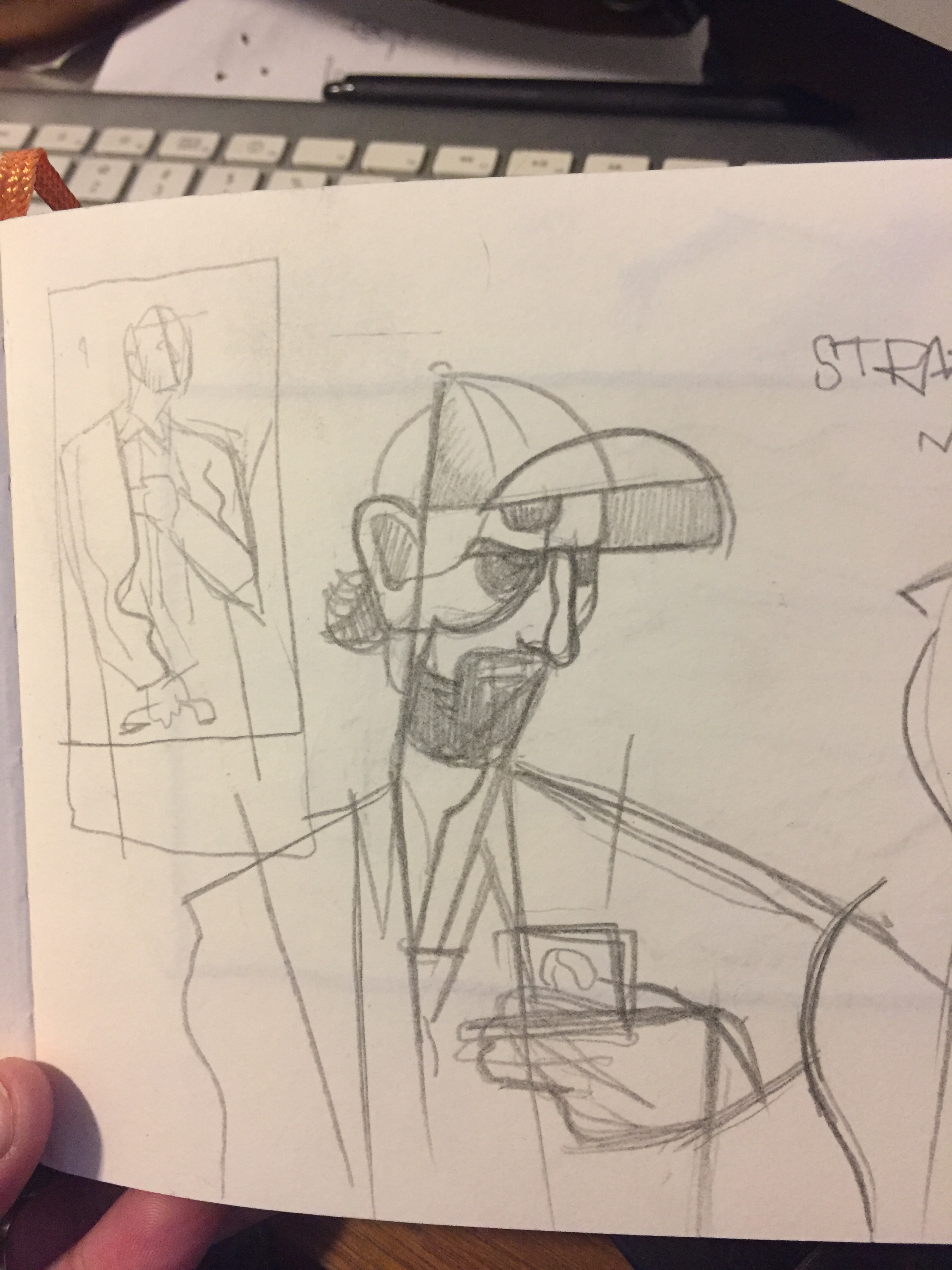 "My initial sketches for ""Travis""."