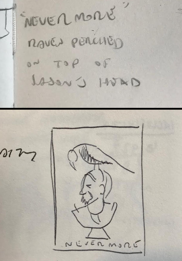 """TOP: The first mention of """"Nevermore"""", December 2014. BOTTOM: My first thumbnail, a few months later."""
