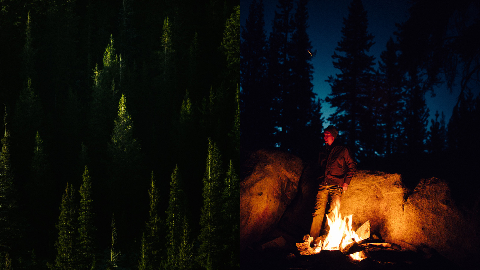 A pine catches the last of the light and Colby stays warm by the fire.
