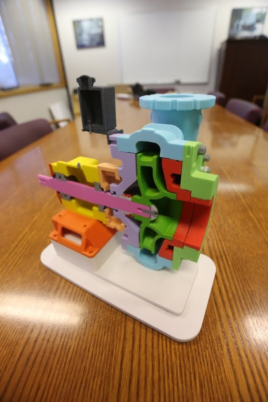 To-scale, full-color model shows internal components of large equipment