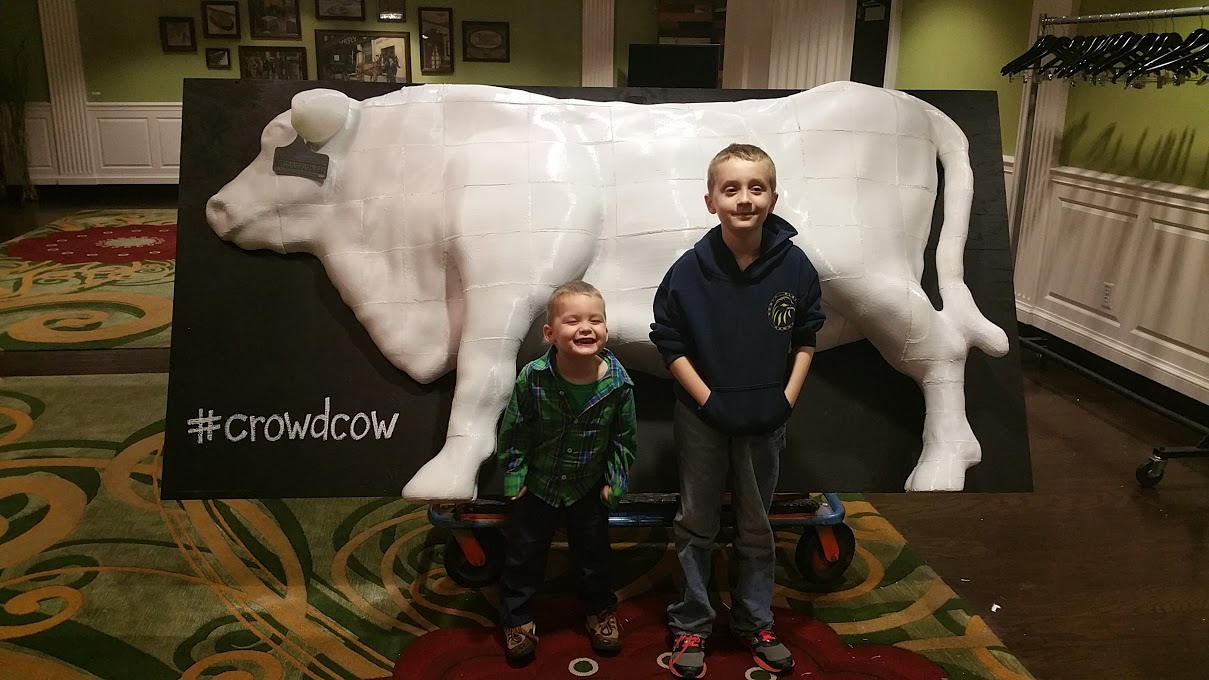 "Adam McGee's sons, Nicolas and Damon ""ham"" it up with Crowdcow"