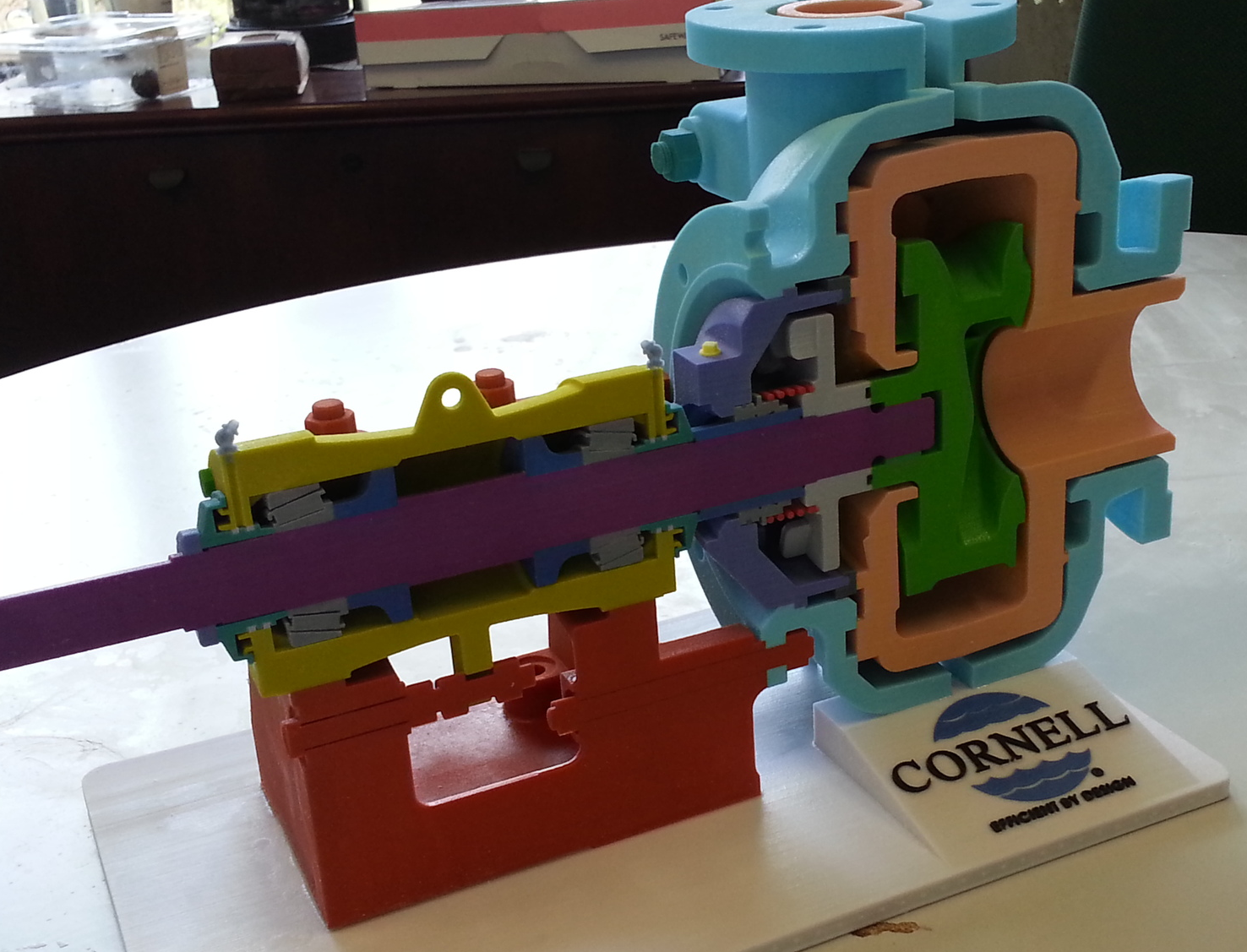 Pump cutaway model to show off internal components, complete with logo