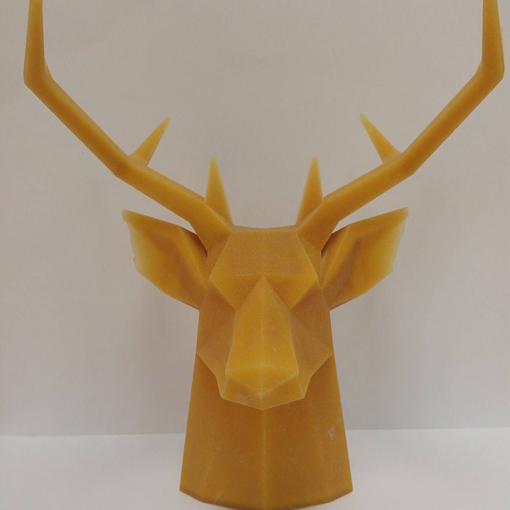 Large 3D printed deer head model made with PMMA.