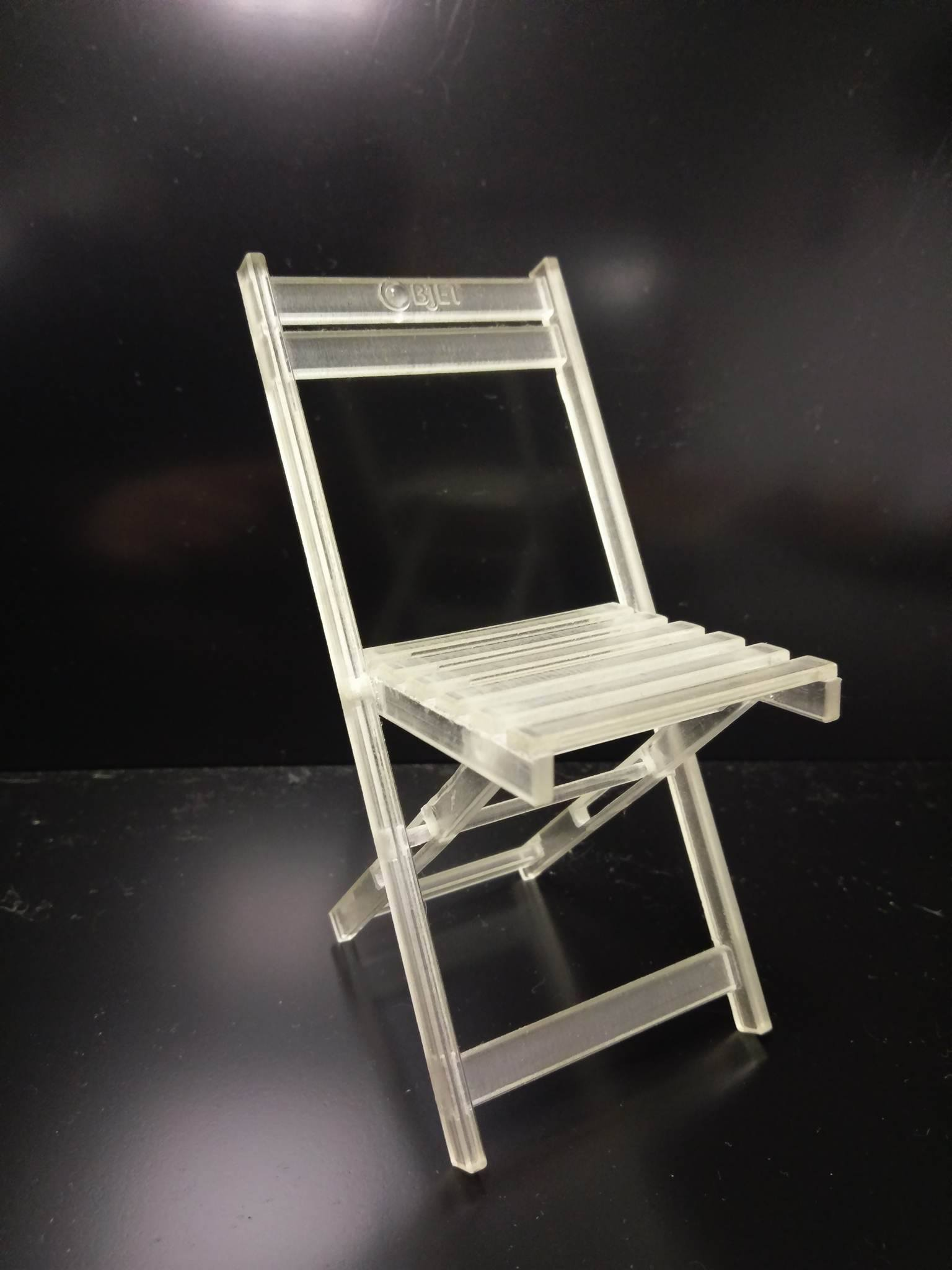 FDM 3D printed chair model made with transparent VeroClear.