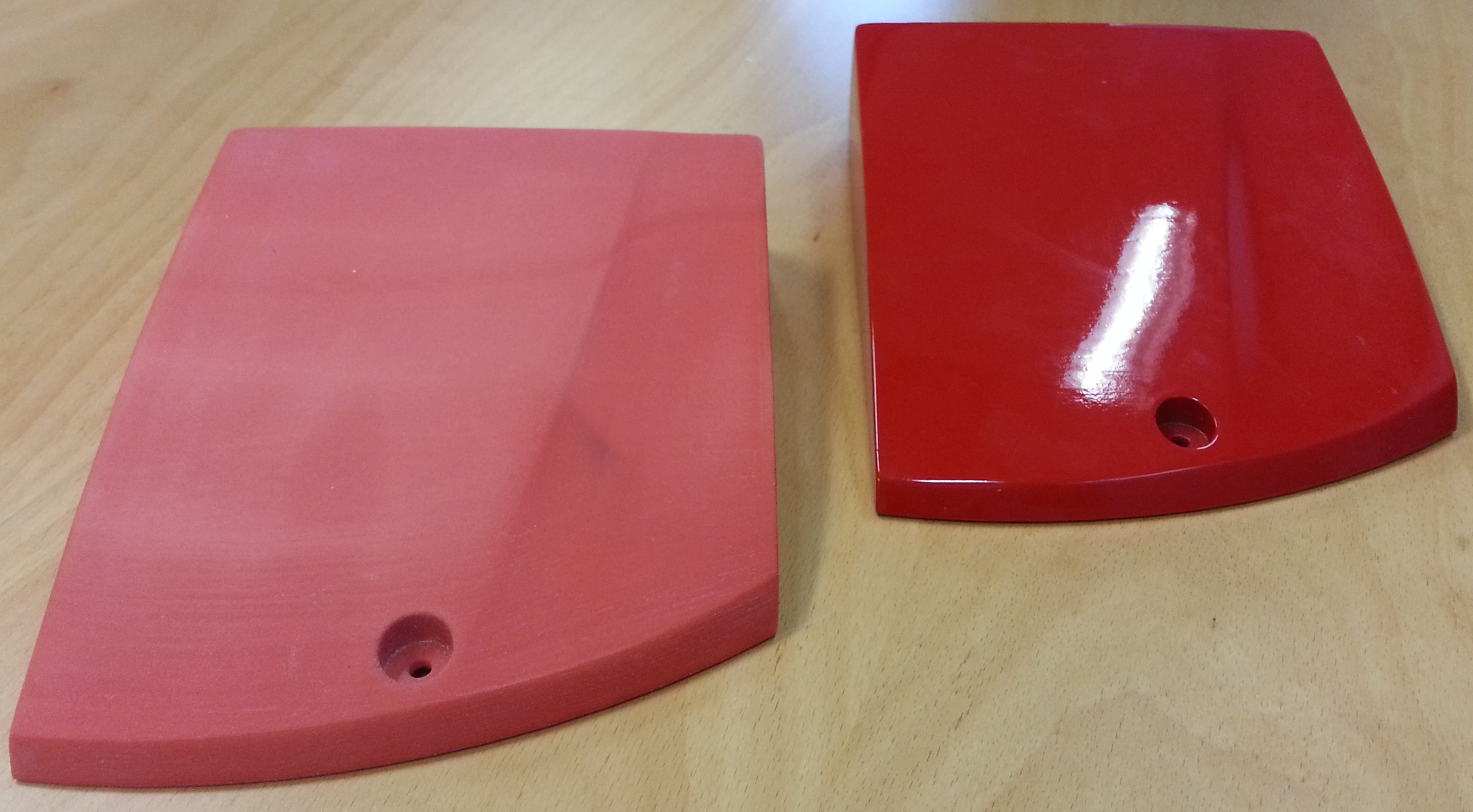 Left: Unpainted finish. Right: Glossy red painted finish.