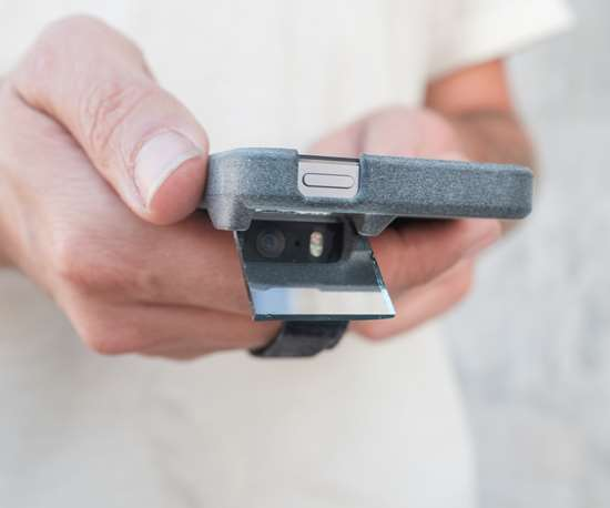 The 3D printed periscope case manufactured by the HP Multi Jet Fusion.