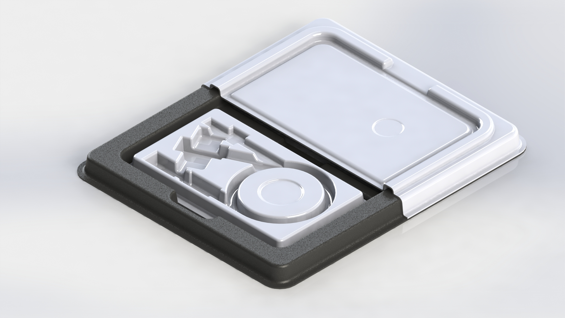 CAD 3D image of a mold for custom thermoformed packaging.