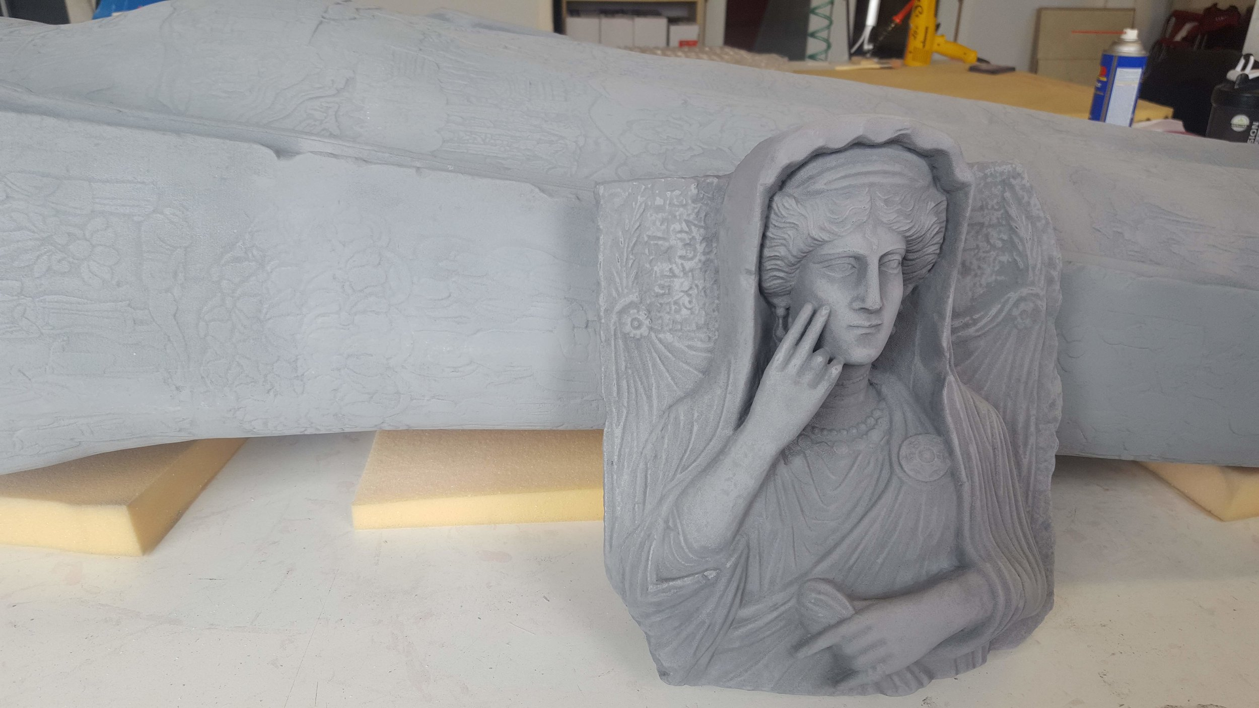 A large format 3D printed reproduction of a Syrian Funerary Relief Bust manufactured by RapidMade