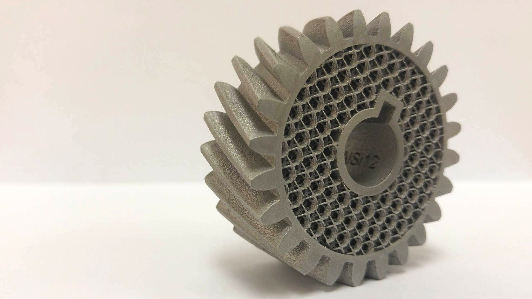 Latticed 3d printed metal gear manufactured with DMLS.