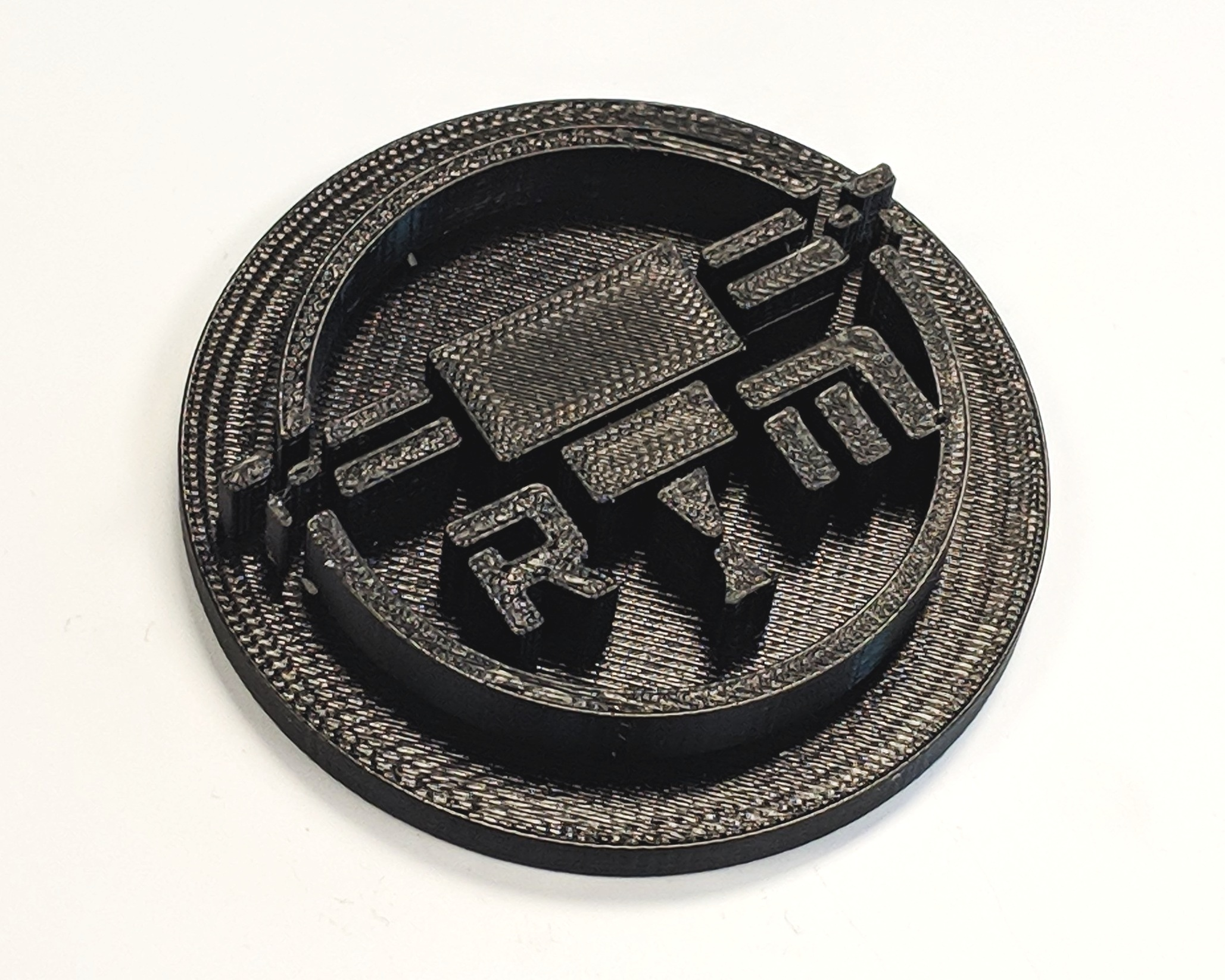 FDM 3D printed ESD logo made with ESD ABS.