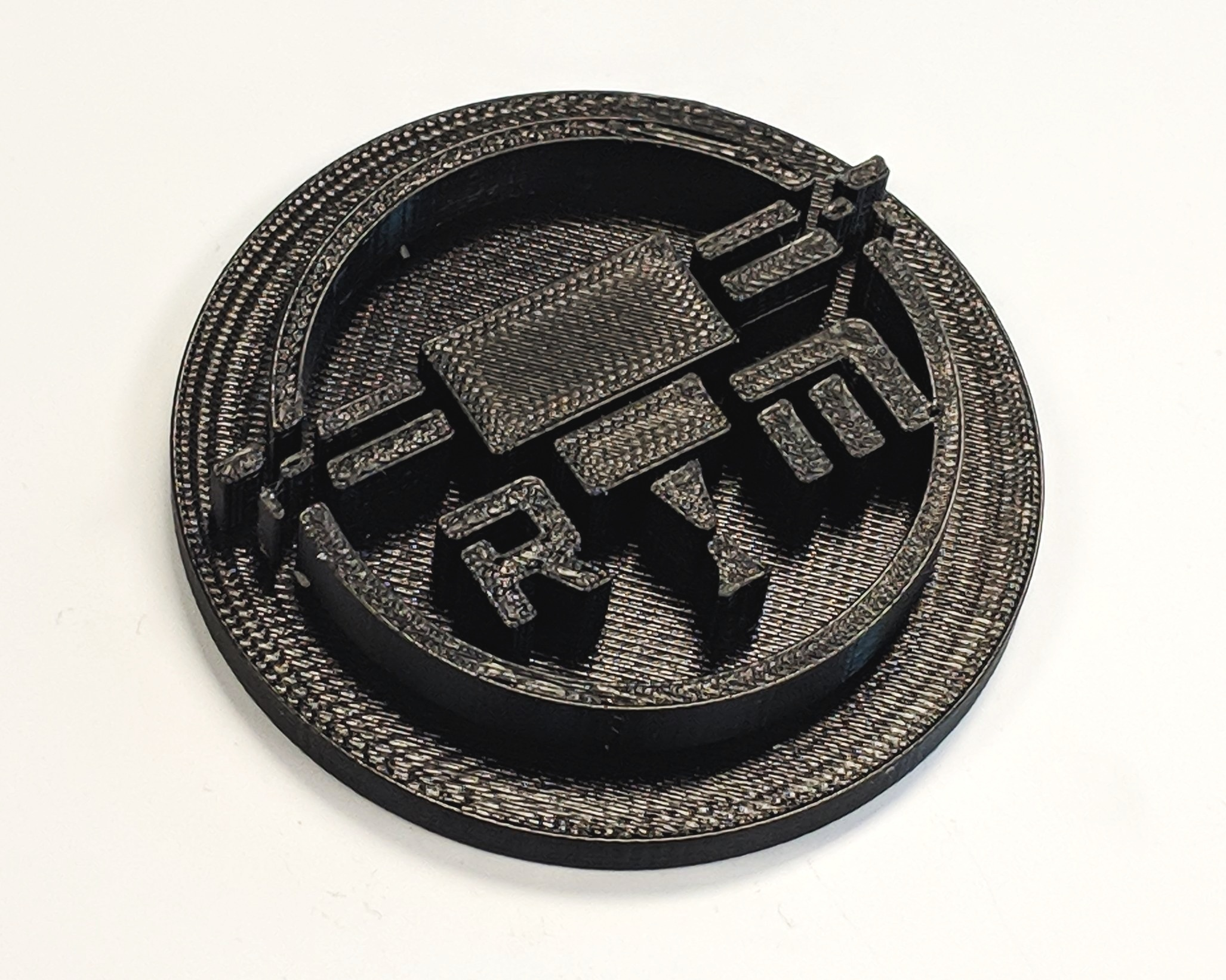 FDM 3D printed logo made with UV-resistant ASA.