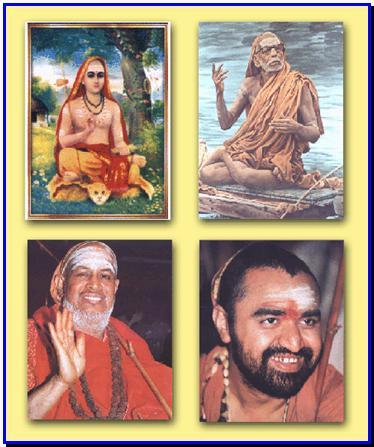 Acharyas of the Kanchi Kamakoti Peetham: Adi Shankara, Paramacharya Jagadguru Shri Chandrashekharendra Saraswathi Mahaswamigal, Jagadguru Shri Jayendra Saraswathi Swamigal, and Jagadguru Shri Shankara Vijayendra Saraswathi Swamigal