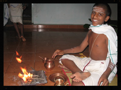 A Brahmin Boy Performs the Samithadhanam
