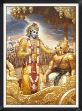 Krishna Reveals the Bhagavad Gita to Arjuna on the Battlefield of Kurukshetra