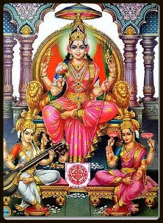 Goddess Lalitha Flanked by Saraswati to Her Right and Lakshmi to Her Left