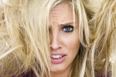 dry blonde hair