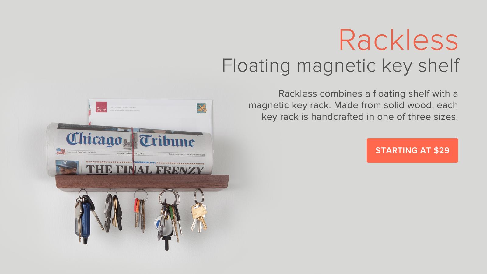 Floating magnetic key shelf