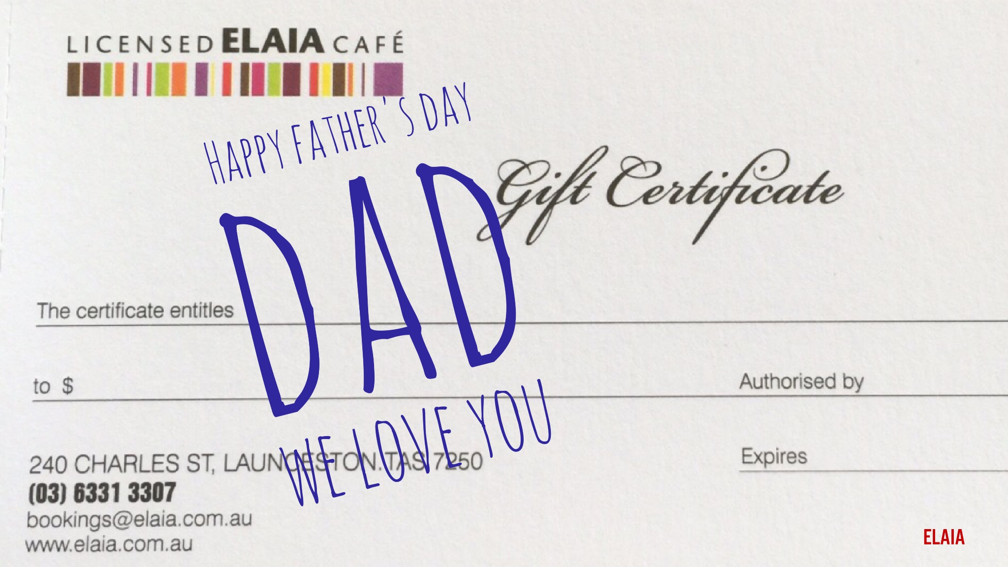 Elaia Gift Vouchers make the perfect gift for Father's Day