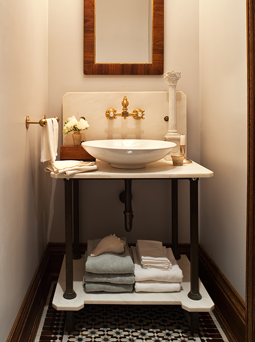 Mosaic Tiles and Vintage Open Sink Powder Room (Photo by Ted Yarwood)